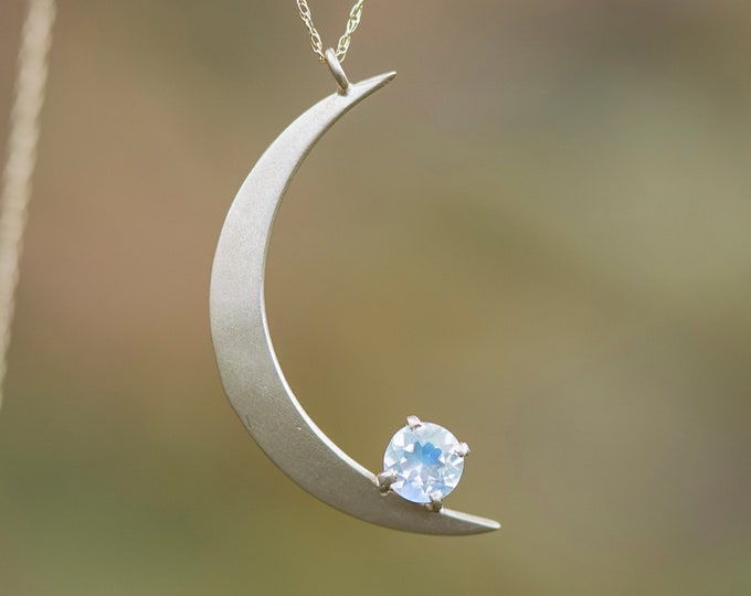 Crescent Moon Pendant with moonstone/ 10k gold necklace/ Celestial jewelry