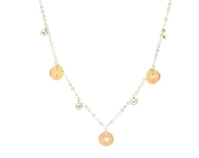 Three Wishes charm necklace gold filled discs