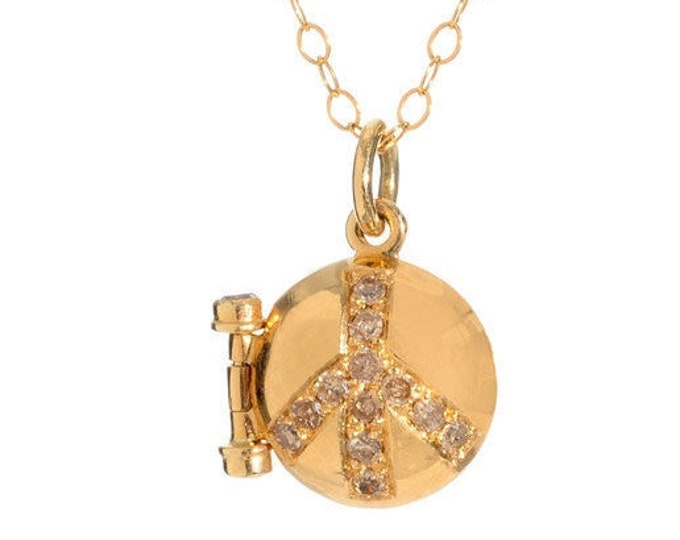 Gold diamond Locket Peace Symbol with Diamonds