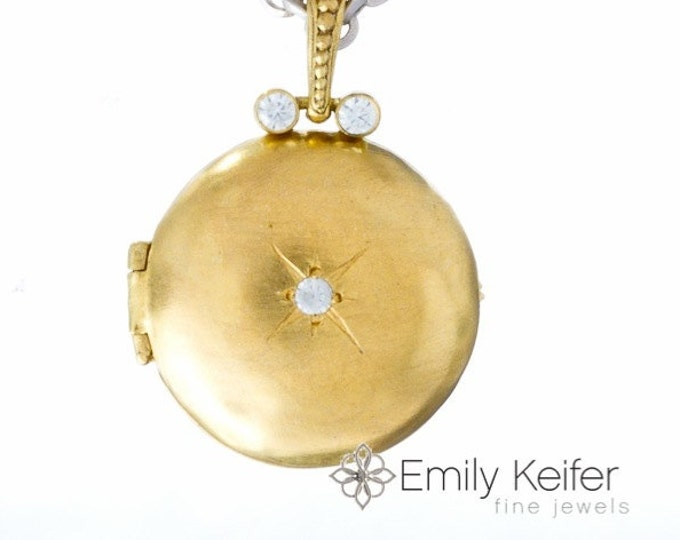 "Gold locket with starburst gemstone and engraving, 24"" chain North Star"