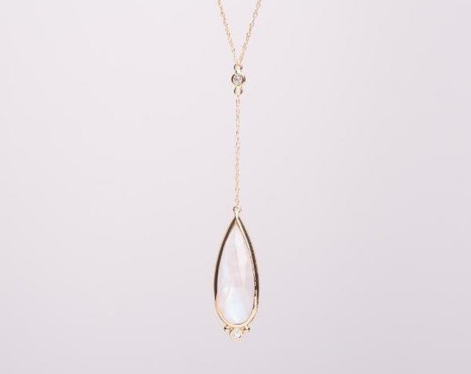 Moonstone pendant 10k gold diamond rainbow moonstone faceted Y necklace