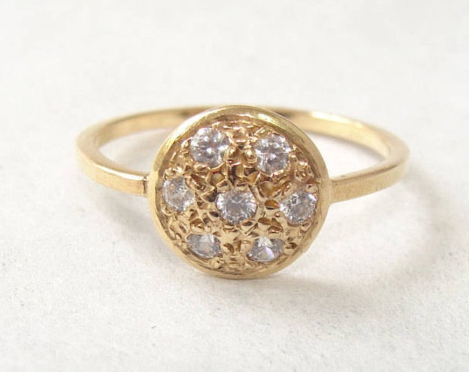 Pave diamond ring Button Ring