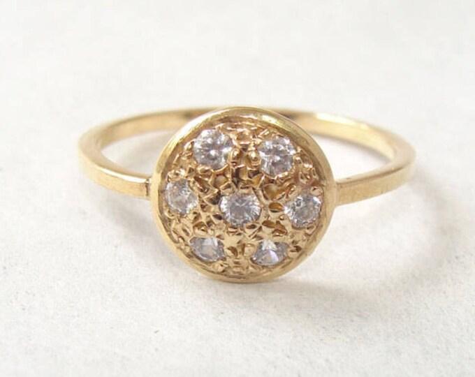 Pave diamond ring Button Ring