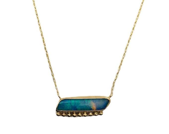 Boulder Opal bar necklace, 10k gold necklace, genuine opal