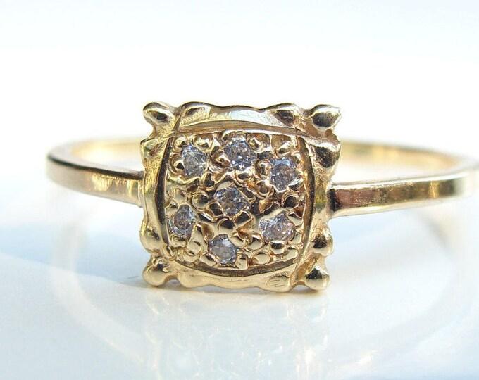 Pave diamond ring 14k gold Postage Stamp Ring