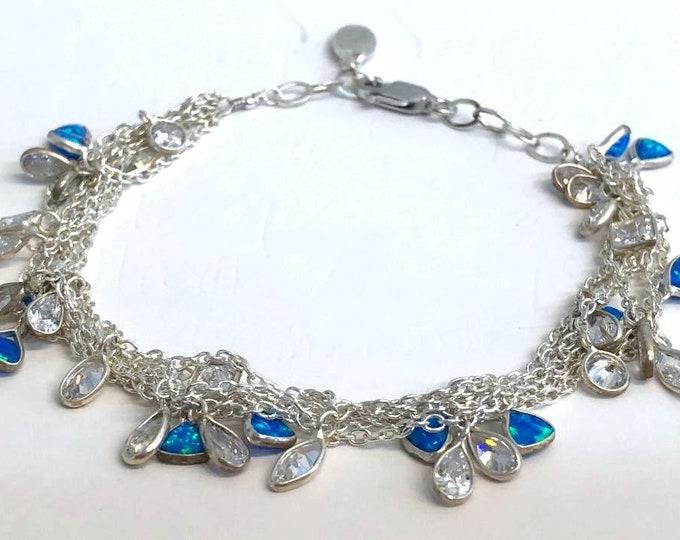 Opal charm bracelet,  multiple strand bracelet, sterling silver bracelet with charms