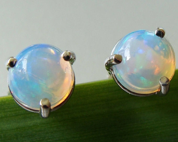 Opal stud earrings in sterling silver