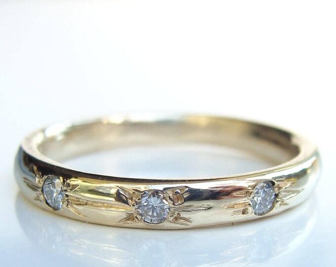 Three stone ring, diamond star ring, diamond stack ring, diamond wedding ring