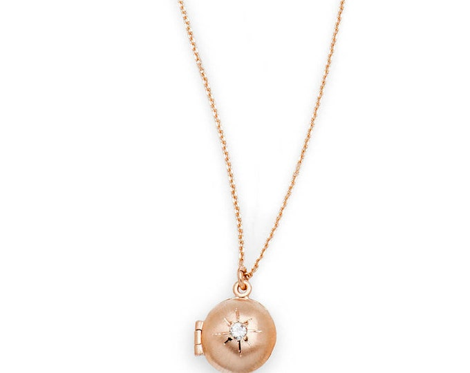 Rose Gold Locket with diamond, Valentine jewelry, star locket