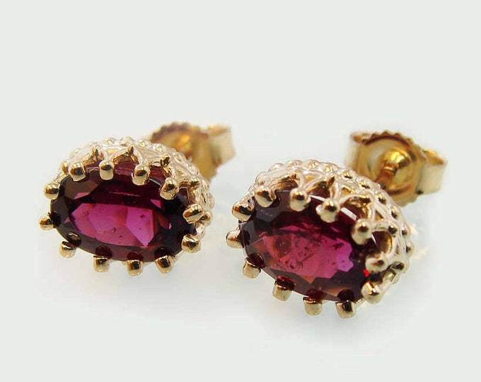 Garnet stud earrings, Valentines Day gift post earrings