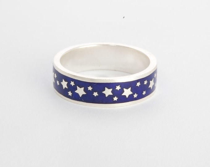 Enamel ring with stars, silver enamel wedding band, blue enamel ring