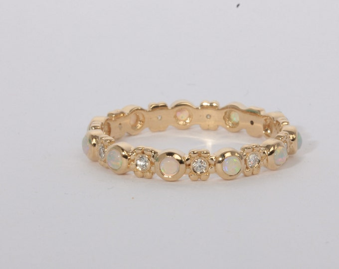 Opal diamond ring 14k gold eternity band flower ring wedding ring