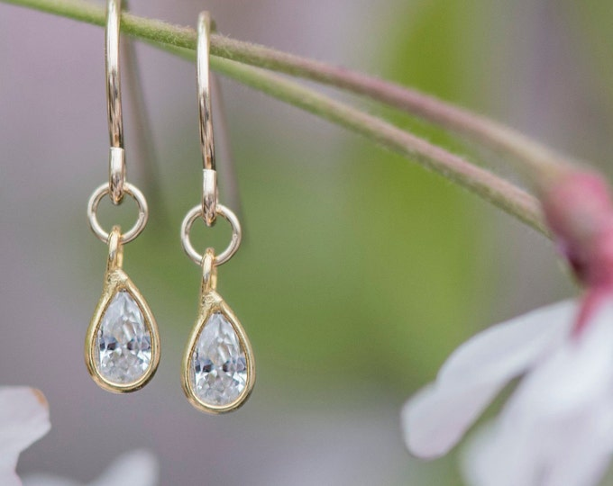 Drop earrings, cubic zirconia tiny simple earrings
