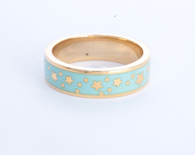 Enamel ring with stars, gold enamel wedding band, turquoise blue enamel ring
