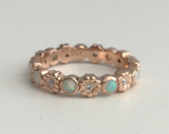 Opal diamond ring 14k rose gold eternity band flower ring wedding ring