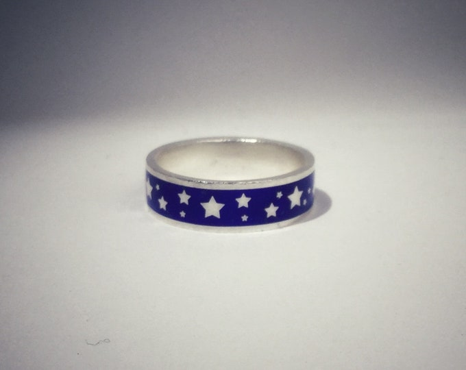 Enamel ring with stars, silver enamel wedding band, blue enamel ring