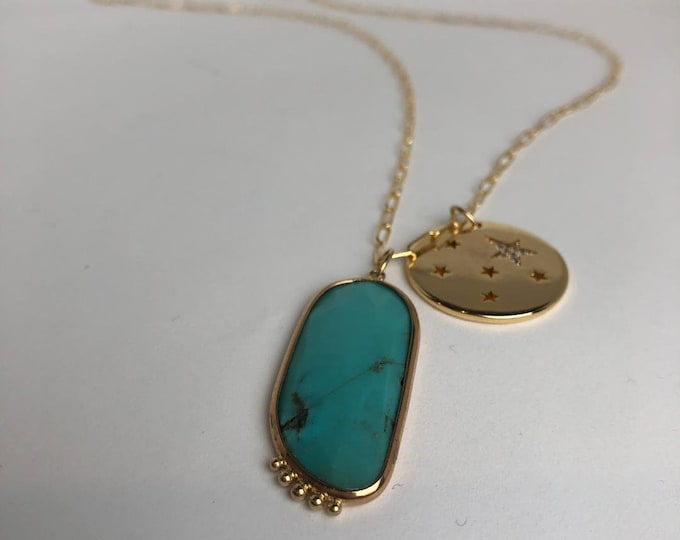 Genuine Turquoise slice necklace with star charm, charm necklace