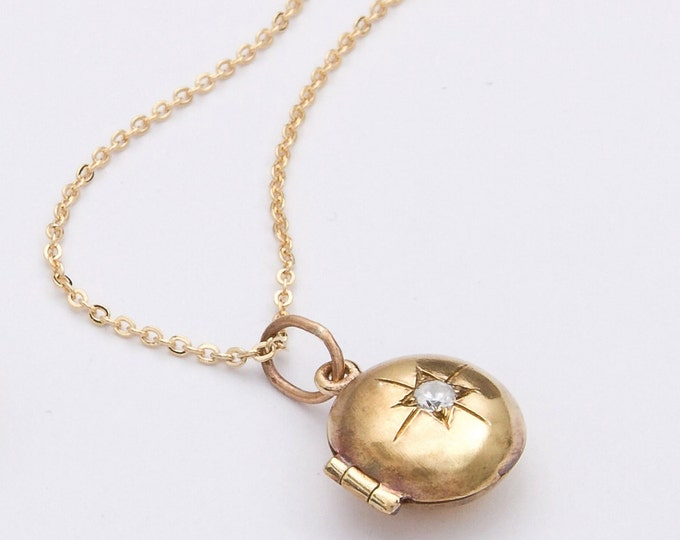 Child's gold locket starburst design baptism baby shower communion gift