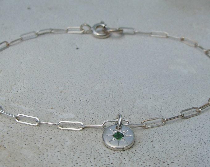 Starburst charm bracelet sterling and green tsavorite Starry - eyed