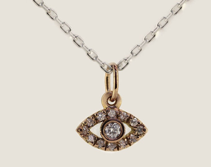Evil eye pendant in rose gold and diamonds on sterling chain