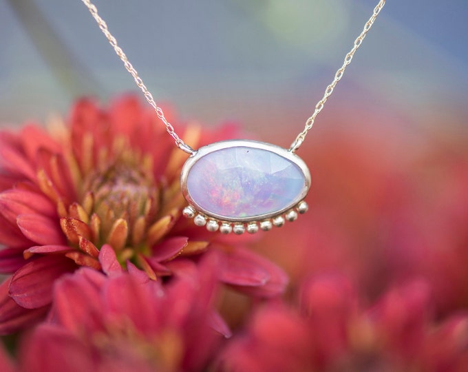 Ethiopian Opal Slice pendant/10k gold/ granulation/ dainty necklace