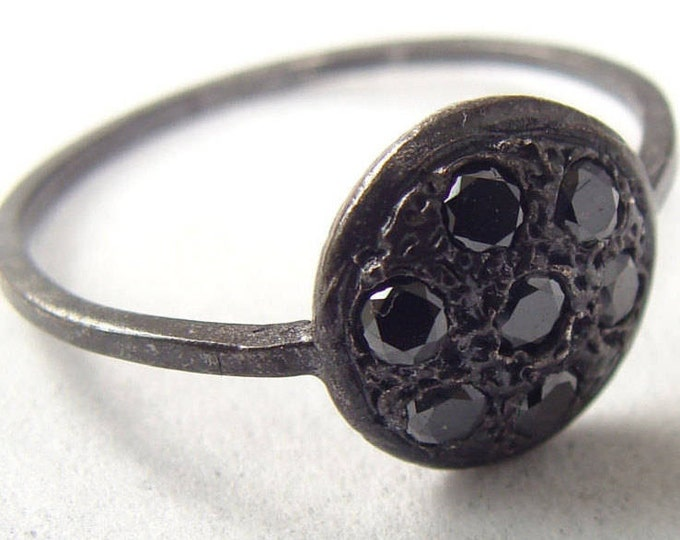 Black Diamond Ring - vintage style button ring