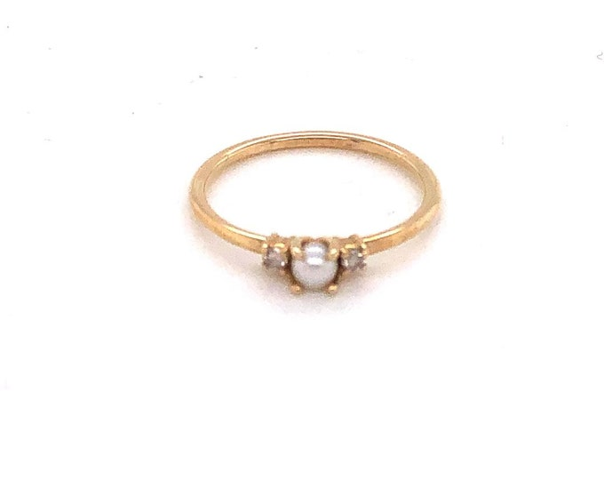 Pearl and diamond ring, stackable ring, dainty ring, gold ring, Geron ring