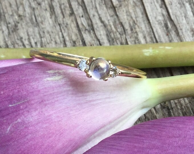 Moonstone and diamond ring, stackable ring, dainty ring, gold ring
