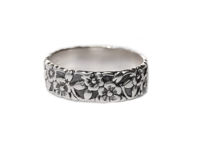Sterling silver floral ring, Poesy ring, friendship ring