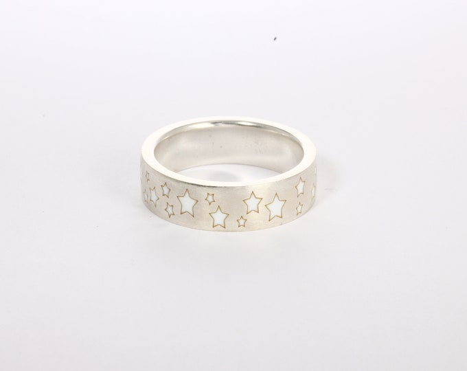 Enamel ring with stars, white enamel wedding band,  silver enamel ring
