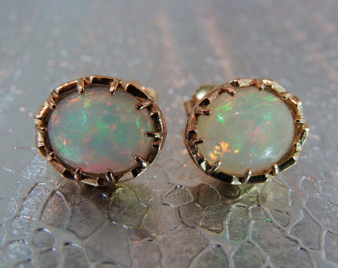 Opal studs earrings, large 14k filigree earrings, Ethiopian opals