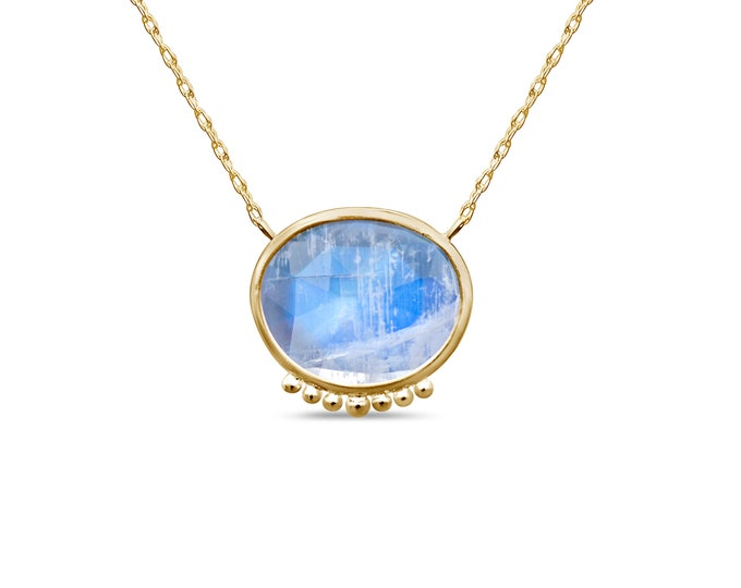 Moonstone gem necklace - Rainbow moonstone set in 10k gold - one of a kind!