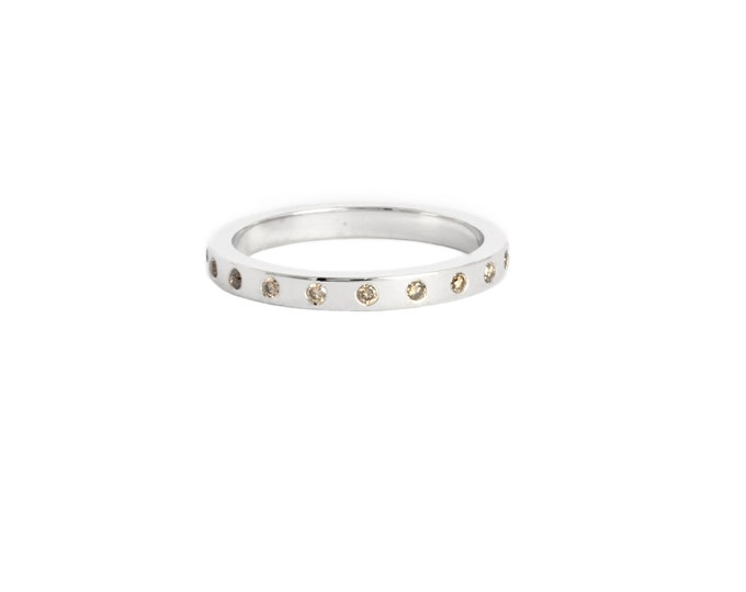 Gold eternity ring, 14k white gold and champagne diamond ring, wedding band