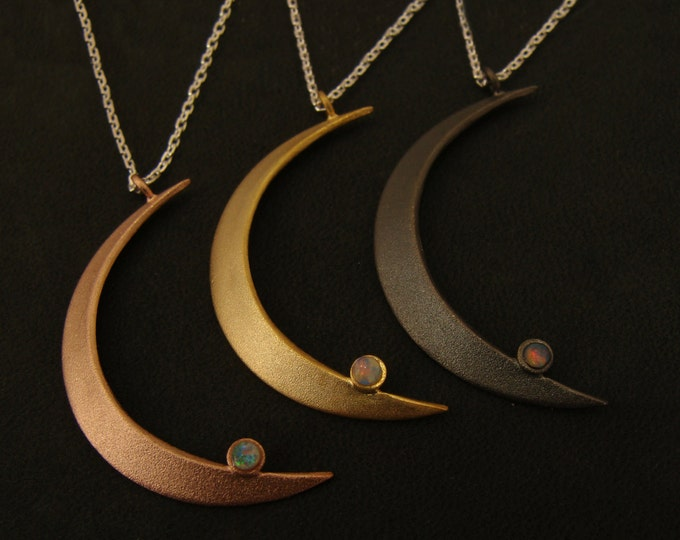 Crescent moon pendant,  gold necklace with opal on a 20 inch chain