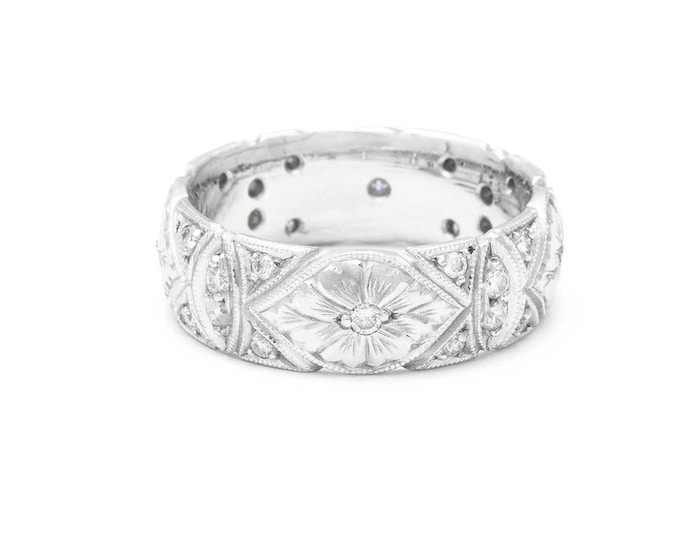Engraved wedding band cigar band ring with diamonds white gold