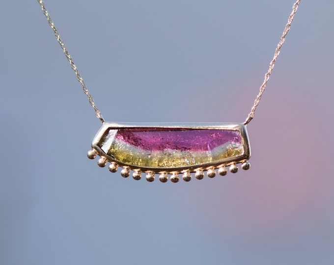 Watermelon Tourmaline Slice necklace/10k gold/dainty necklace
