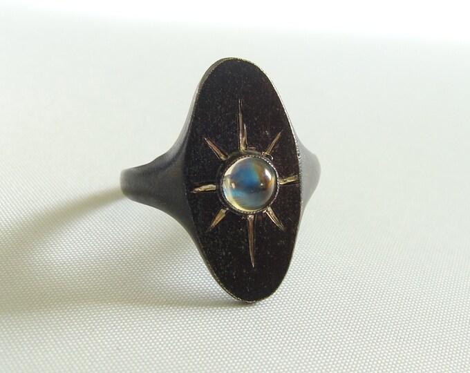 Sterling Black Star Moonstone ring