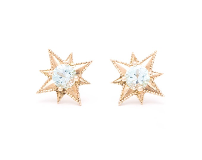 Gold star earrings 10k gold aquamarine stud earrings