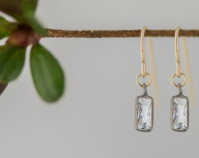 Emerald cut gem earrings, cubic zirconia tiny simple earrings