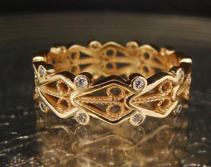 Filigree wedding band - ribbon ring diamond wedding stack band