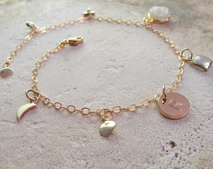 Charm bracelet gold with celestial tiny stars and moons