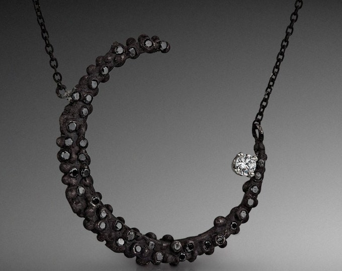 Crescent Moon Necklace with Black Diamonds