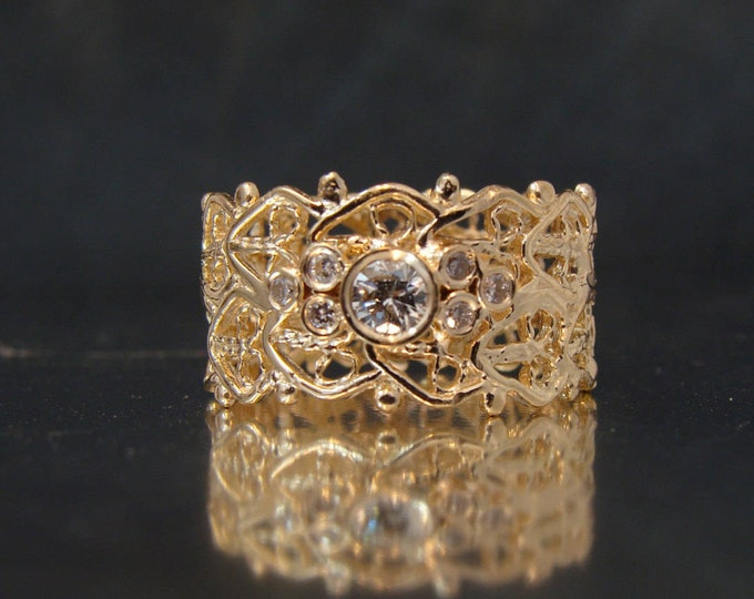 Cigar Band Ring white cluster diamonds, lace ring with 7 diamonds, wedding band, right hand ring