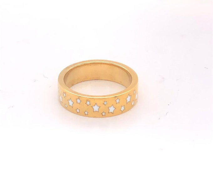 Enamel ring with stars, white enamel wedding band,  Twilight ring, gold enamel ring