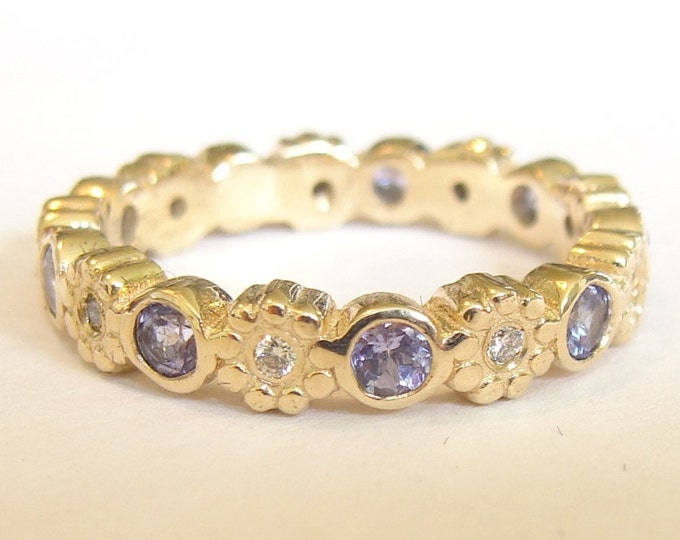 Tanzanite and diamond gold ring Eternity band, wedding band, friendship ring