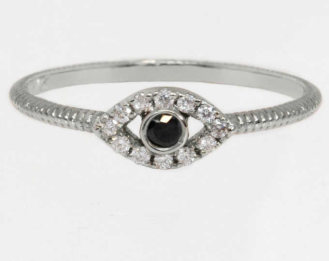 Evil eye ring, 14k white gold ring with black and white diamonds