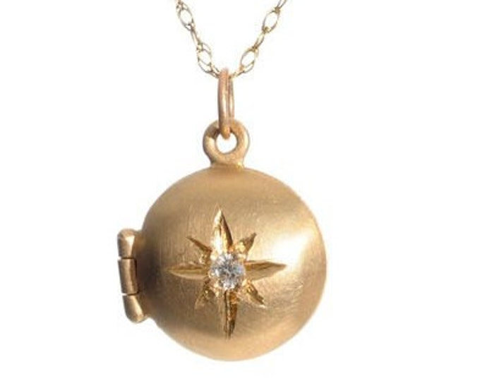 Gold locket with diamond, Valentine's Day gift