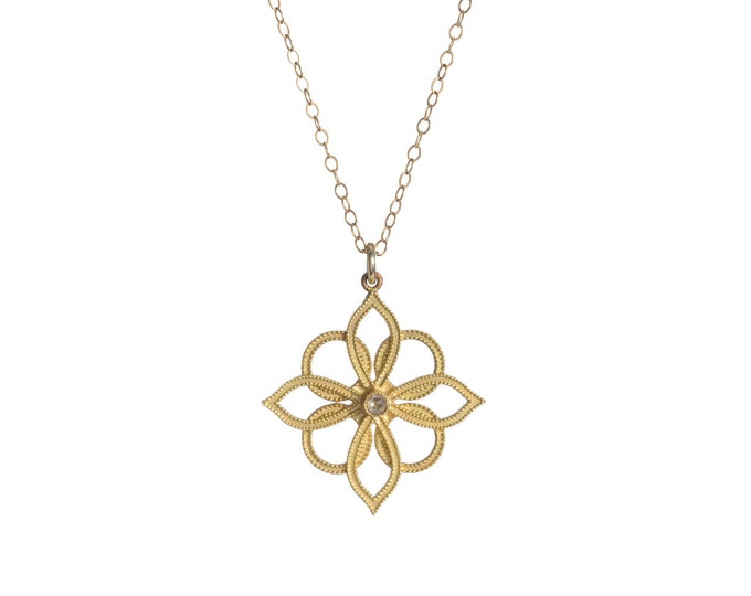 Gold Lotus Necklace blossom necklace pendant