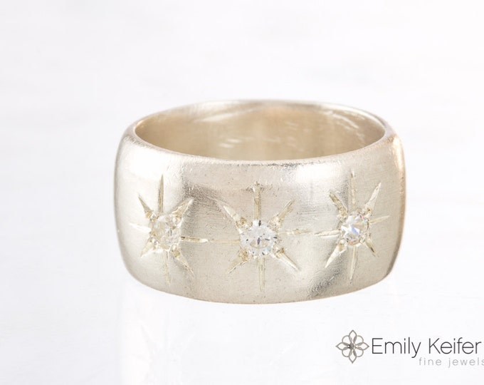 Silver Cigar Band ring with Stars