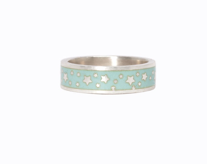 Enamel ring with stars, enamel wedding band, turquoise enamel ring